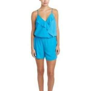 NEW 1. STATE Bright Blue Aqua Ruffle Trim Romper